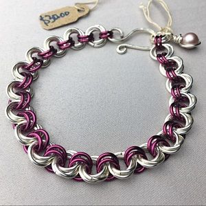 Jewelry - 🌸Pink and Silver Rosette bracelet🌸